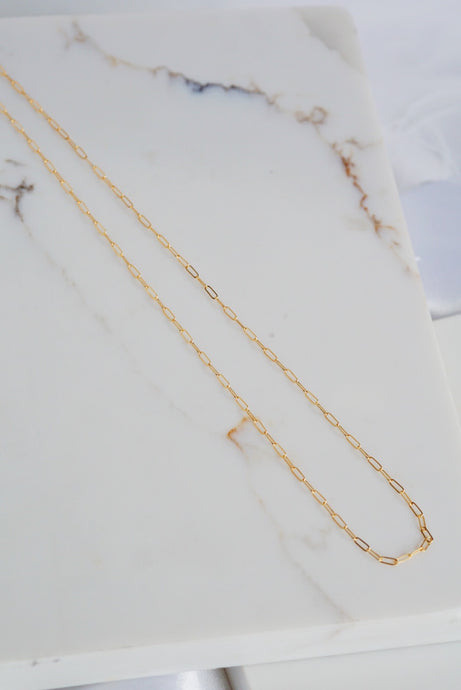 CALA Drawn Cable Link Chain Necklace Gold Filled