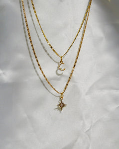 CIELO Crescent & Star Choker Necklace Set Gold