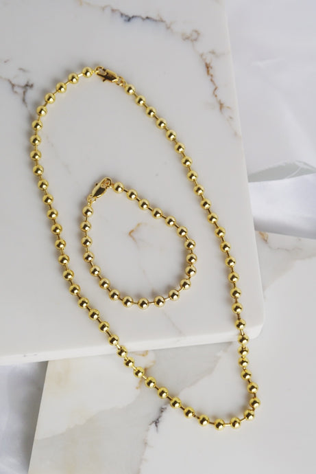NAOMI Ball Chain Necklace Gold