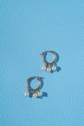 NEWPORT Gold Filled Hoop Earrings- Large Pearl