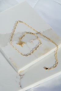 Apollo North Star Lariat Necklace Gold