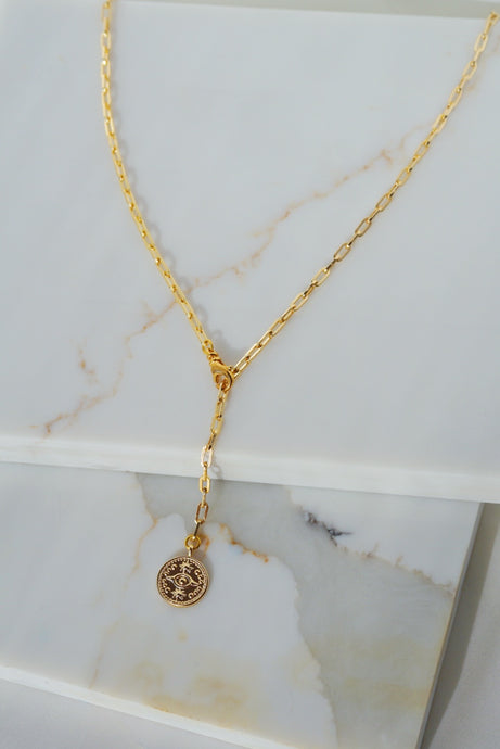 LUXOR Third Eye Lariat Necklace Gold