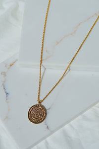 ATHENS Greek Coin Long Necklace Gold