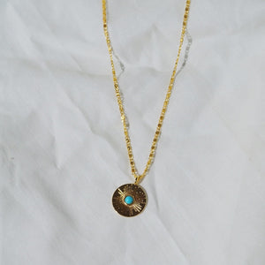 OIA Sun Gold Coin Necklace with Turquoise