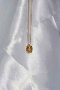 NOOR Half Moon & Star Square Pendant Gold Filled Necklace