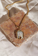 HOLLY Square Pearl Pendant Long Necklace Gold