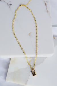 AMANI Padlock Crystal Chain Necklace Gold