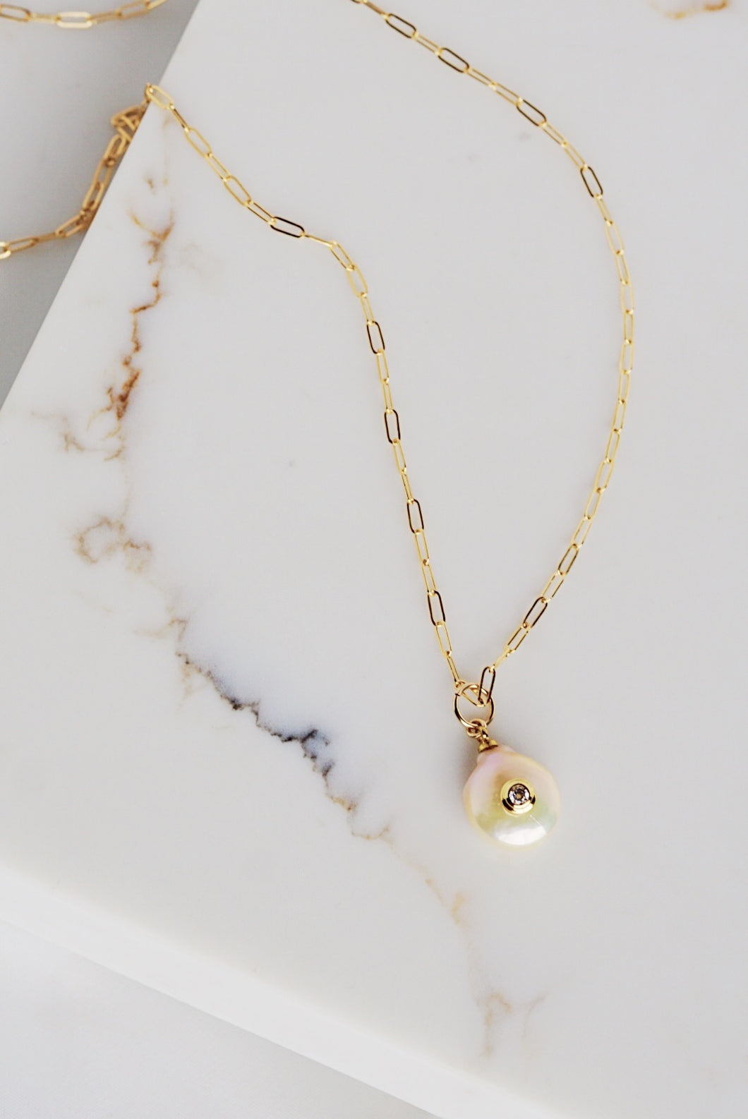 PORTIA Link Necklace with Pearl Pendant Gold Filled