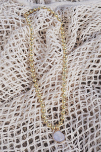 ANAIS Ball Chain Necklace with Pearl Pendant Gold
