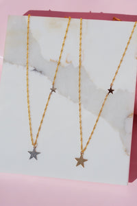 SOLARIS Double Star Necklace Silver