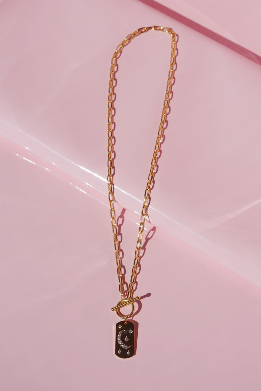 ELIO Celestial Dog Tag Toggle Clasp Link Necklace
