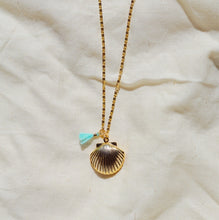 CETO Seashell Locket Aqua Tassel Gold Plated Necklace