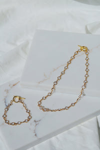 PARIS Crystal Chain Necklace with Toggle Gold