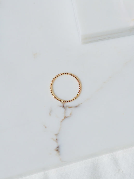 BIANCA Gold Filled Beaded Band Stacking Ring