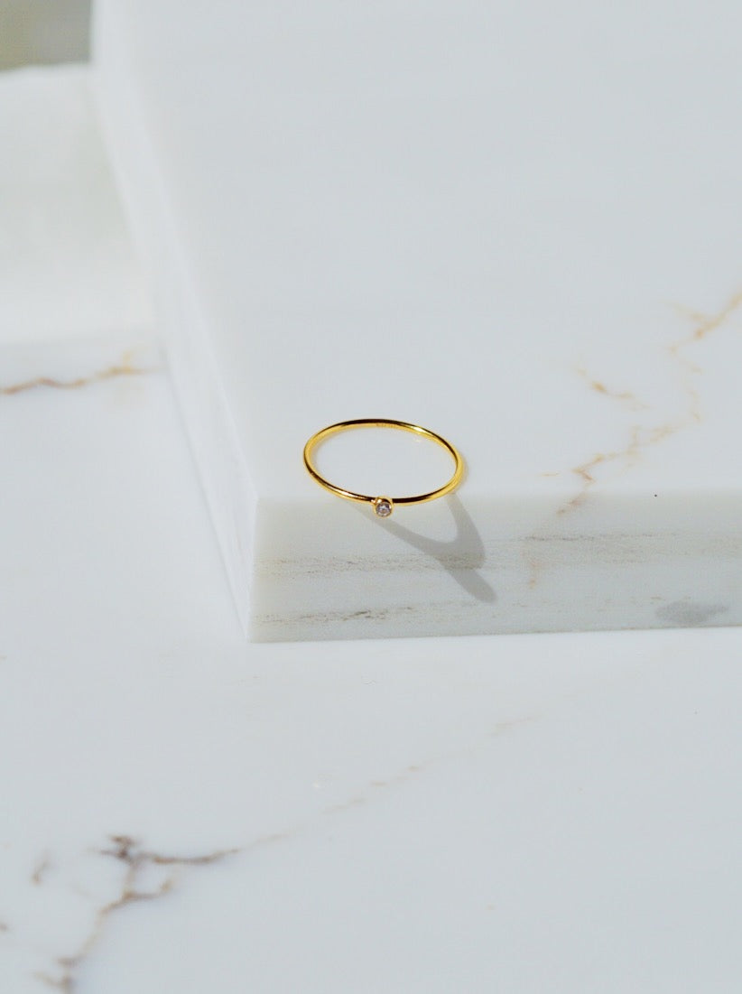 ALTON Crystal Solitaire Gold Filled Stacking Ring
