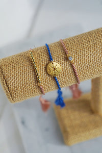 ARIA Gold Beaded Bar Thread Slider Bracelet