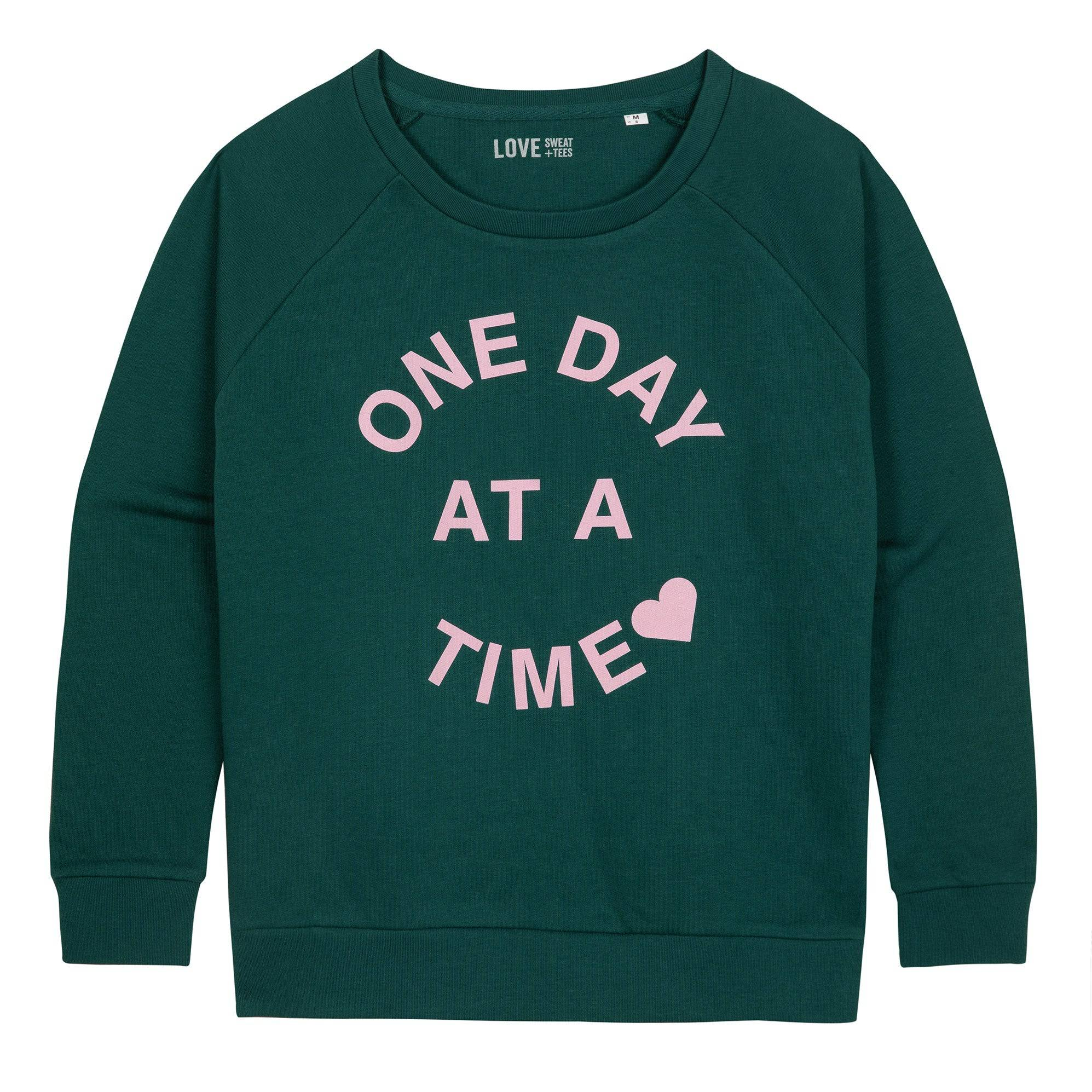 One Day at a Time Sweat (Pink on Green)