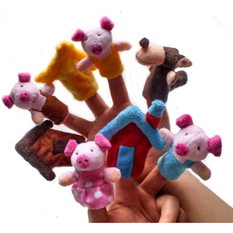 Three Little Piggies And The Big Bad Wolf Finger Puppets (8pcs)
