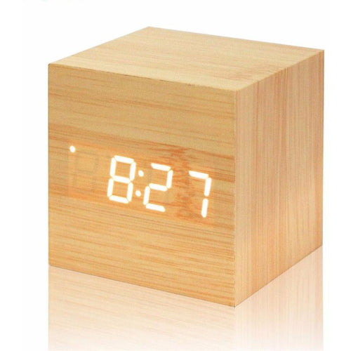 Digital Modern Bamboo Alarm Clock
