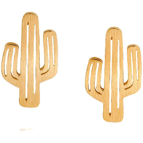 Miniature Gold Cactus Stud Earrings