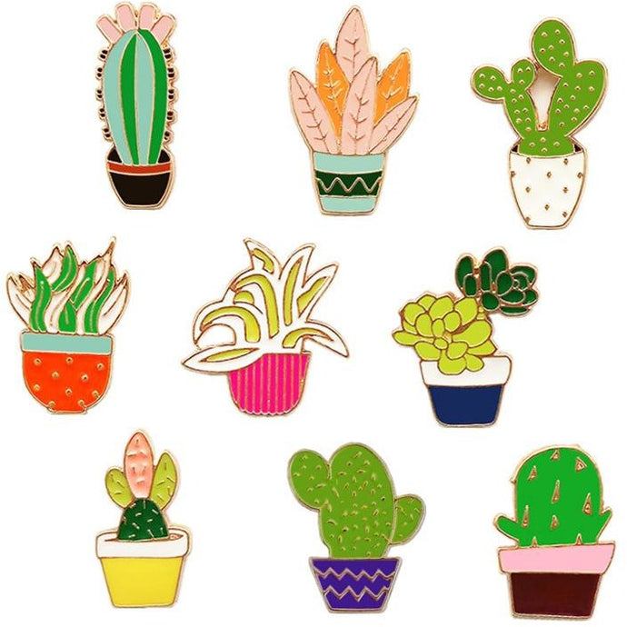 Cactus Enamel Pin Set (9 pcs)