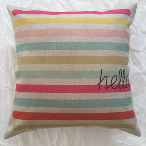 Striped Hello Pillow Cover