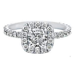 Dianna 18K White Gold 1.73 ctw Cushion Diamond Halo Engagement Ring