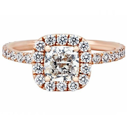 Caroline 18K Rose Gold 2.80 ctw Cushion Diamond Halo Engagement Ring by Kimberley Diamond
