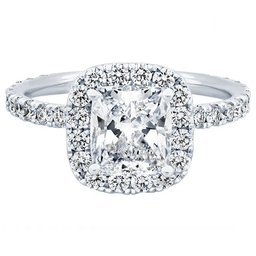 Anna Bella 18K White Gold 3.82 ctw Cushion Diamond Halo Engagement Ring
