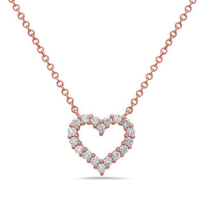 Bassali Diamond Heart Necklace in 14K Rose Gold