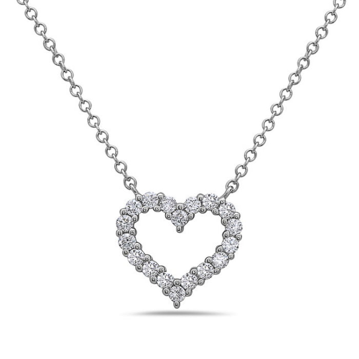 Bassali Diamond Heart Necklace in 14K White Gold