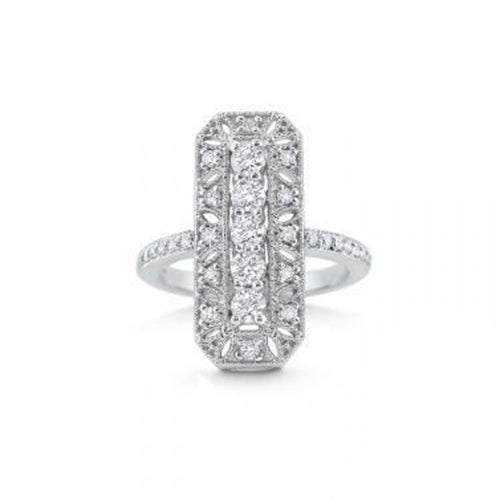 KC Designs 14K White Gold Antique Diamond Ring (0.82 ctw)