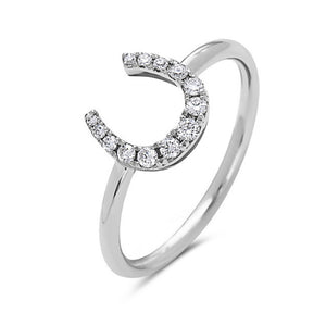 Bassali Mini Horseshoe Diamond Ring in 14k White Gold