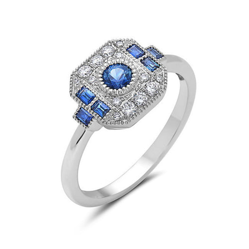 Bassali Diamond and Sapphire Halo Ring in 14k White Gold