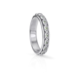 Renew Sterling Silver Stack-able Meditation Ring with Cubic Zirconia