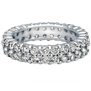 Kimberley Diamond 18K White Gold 2.70 ctw Double Row Diamond Eternity Wedding Band