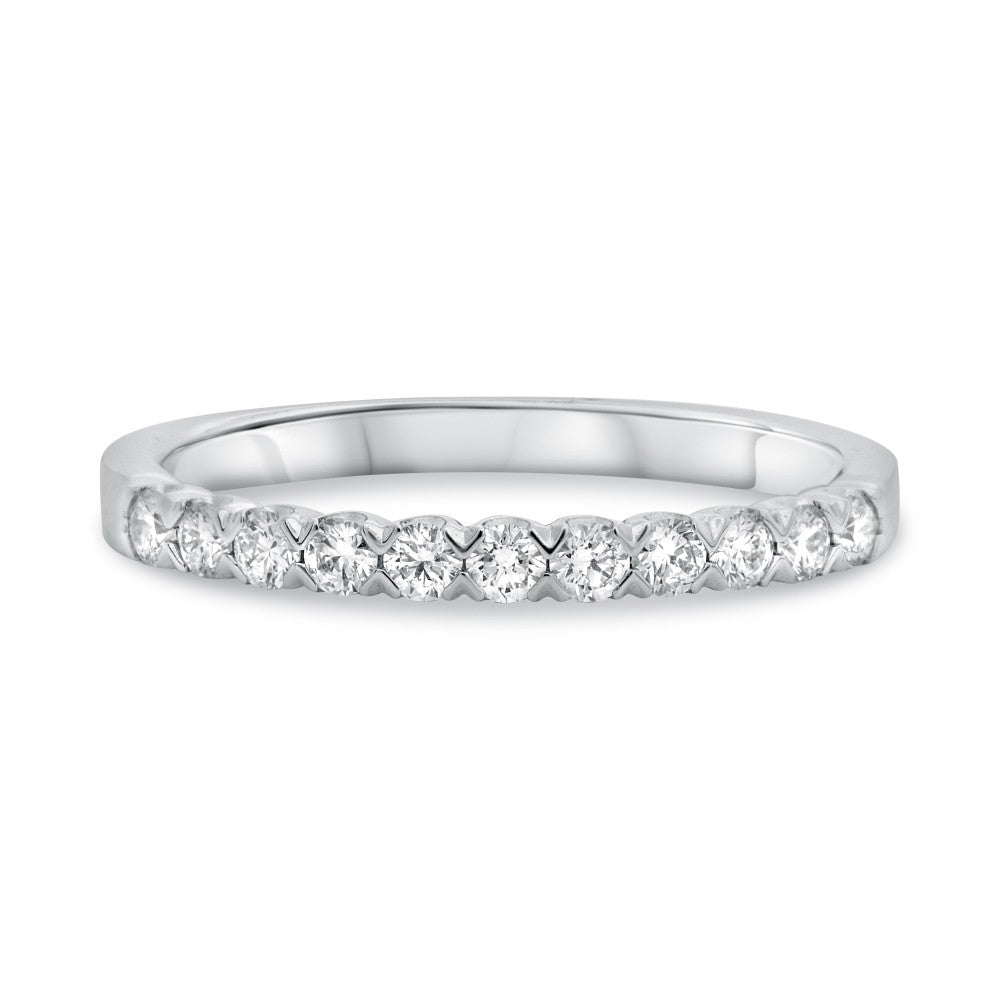 Roman and Jules 14K White Gold Fishtail White Diamond Pave Band (0.35 ctw)