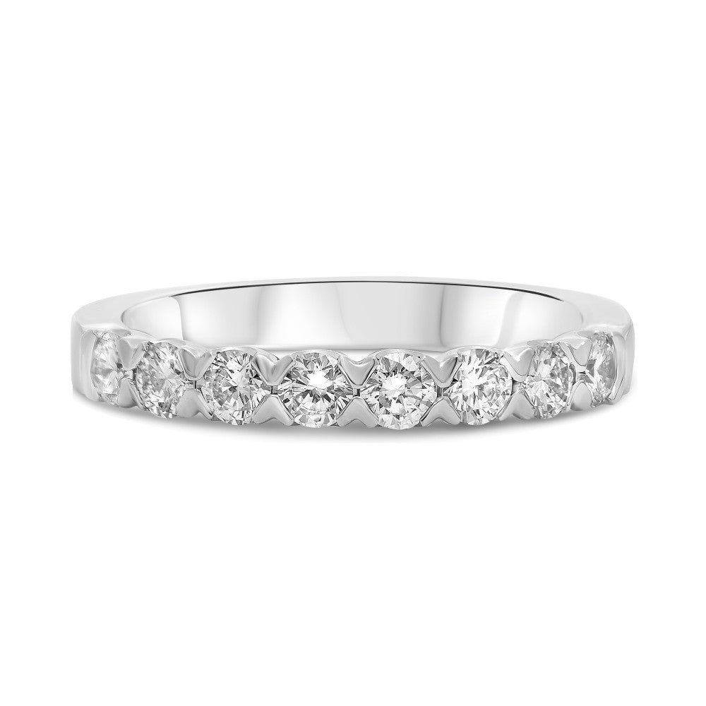 Roman and Jules 14K White Gold Eight Stone Fishtail Diamond Band