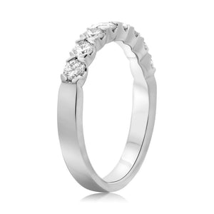 Roman and Jules 14K White Gold Eight Stone Fishtail Diamond Band (0.72 ctw) - Gems by G Fine Jewelry