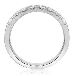 Roman and Jules 14K White Gold Fishtail Half Pave Diamond Band (0.52 ctw) - Gems by G Fine Jewelry