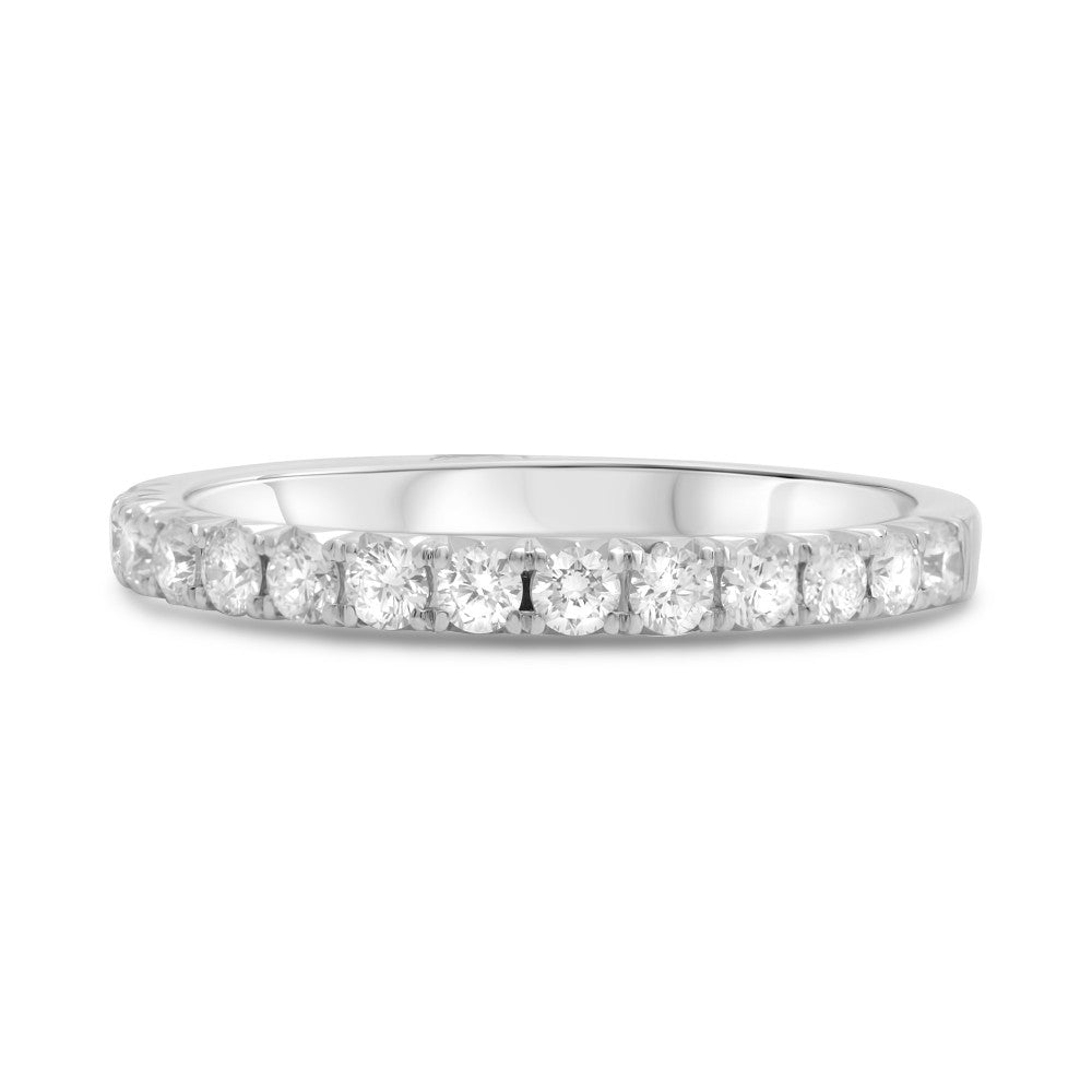 Roman and Jules 14K White Gold Prong-Set Half Pave Diamond Wedding Band