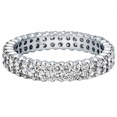Kimberley Diamond 18K White Gold 1.50 ctw Double Row Diamond Eternity Wedding Band