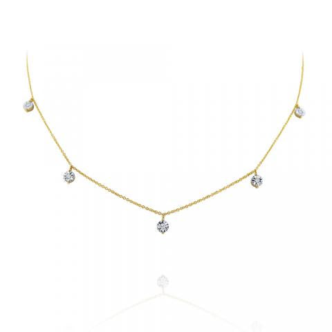 Hanging Diamond Station Necklace