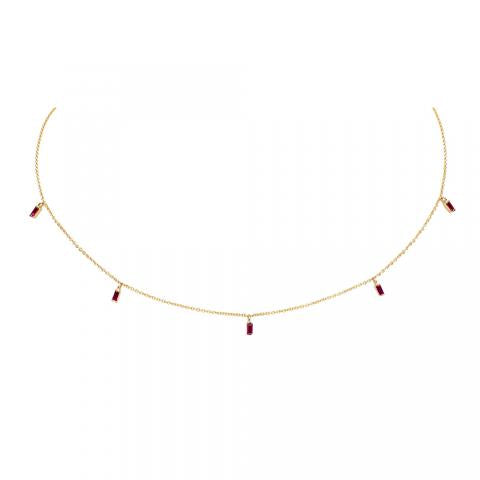 KC Designs Floating Baguette Gemstone Necklace Ruby