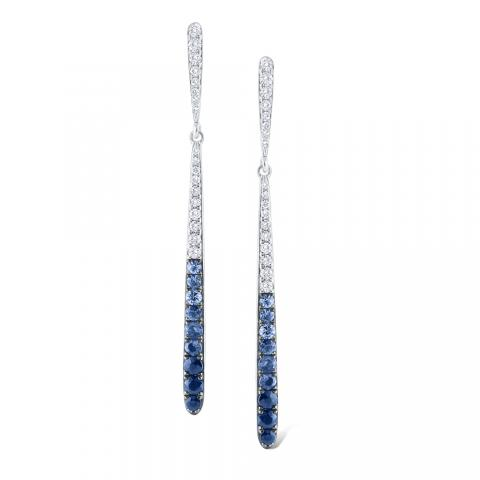KC Designs Blue Ombré Sapphire & Diamond Line Earrings in 14K White Gold