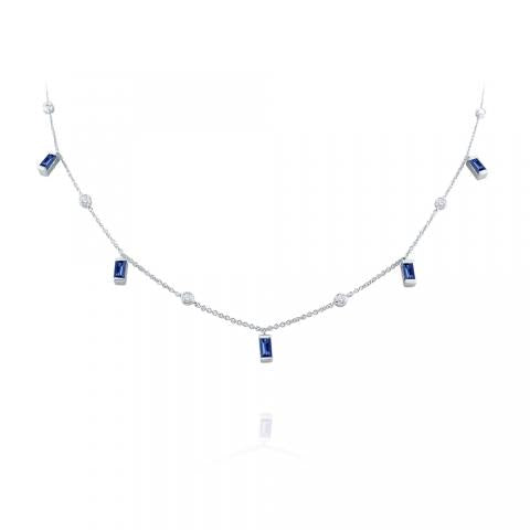 Hanging Baguette Sapphire & Diamond Station Necklace
