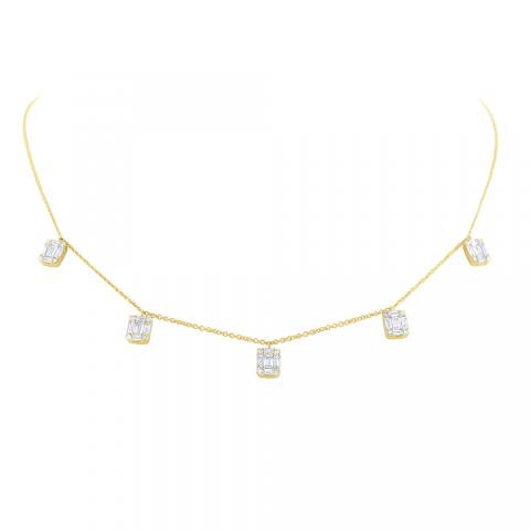 Floating Diamond Mosaic Station Necklace