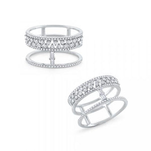 KC Designs Diamond Mosaic Shimmer Ring in 14K White Gold (0.55 ctw)