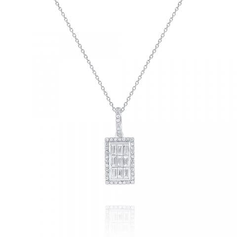 KC Designs Diamond Rectangle Mosaic Pendant in 14K White Gold