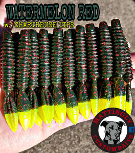 "Watermelon Red w/ Chartreuse Tips 3.25"" Runts"